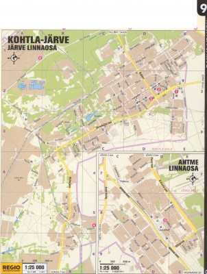 Карта Кохтла-Ярве и части города Ахтме. 2011 г.