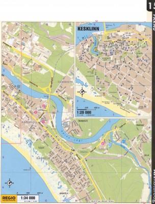 Карта Пярну, восточная часть. А также, подробным планом, центр города. 2011 г.