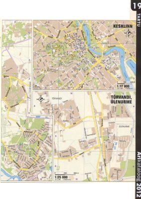 Карта города Тарту 2011 г. Восточная часть и центральная часть крупным планом. Тырванди, Юленурме.