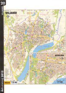 Карта города Вильянди и центральная часть крупным планом. 2011 г.