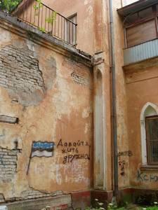 Стены заброшенной резиденции Бенкендорров и Волконских превратились в «политтрибуну» на актуальные после «бронзовых ночей» темы.