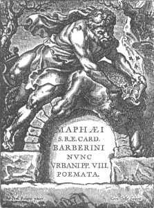 Заглавный лист к стихотворениям папы Урбана VIII, по рисунку Рубенса (Плантен, Антверпен). Стиль барокко