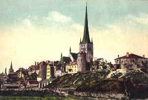 Вид на древнее поселение со стороны бухты. XIX в.