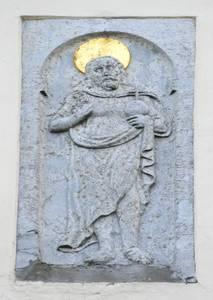 «Миролюбивый» Иисус на фасаде Дома Братства черноголовых.