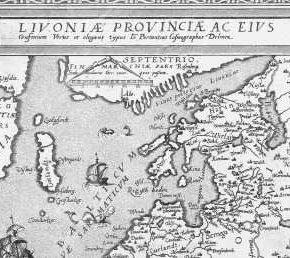 Фрагмент карты «Провинция Ливония», изданной в 1573 году.