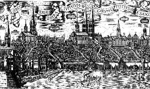 Город Любек. Панорама города и гавани.