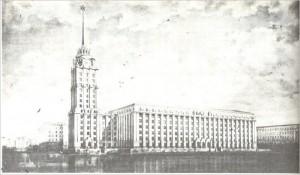 Дом советов на восточной стороне нынешней площади Виру по проекту 1953 года. В перспективе – Нарвское шоссе