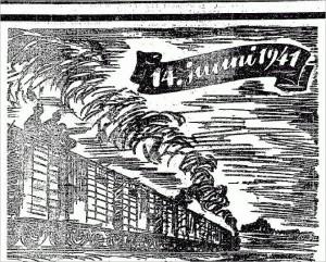 Июньская депортация. Рисунок с первой полосы газеты «Eesti Sõna» за 12 июня 1943 года.