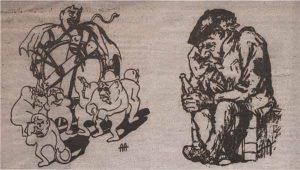 """Владельцы питейных заведений и пропойцы — жертвы решения Городской думы. Карикатура из журнала """"Meie Mats"""". Декабрь 1914 года"""