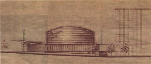 Будущий кинотеатр «Космос» на первоначальном проекте...