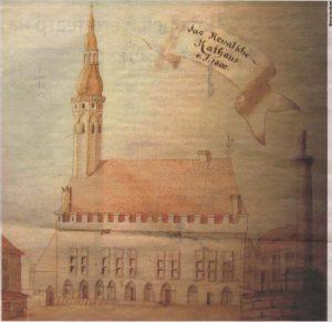 Ррвельская ратуша и позорный столб (справа): у его подножия 320 лет назад палач отсек голову Кристиану Элиасу Панике.