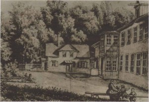 Летняя усадьба на Сахарной горке в окрестностях мануфактуры Клеменца. Рисунок середины XIX века.