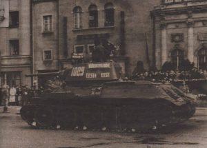 Танк Эстонского стрелкового корпуса на нынешней площади Вабадузе. 1946 год.