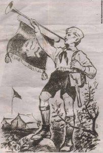 """Образцовый пионер образца лета 1941 года на первой полосе газеты """"Noorte Hääl""""."""
