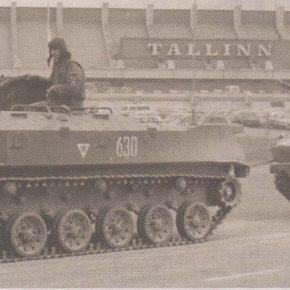Колонна военной техники въезжает в Таллинн. 20 августа 1991 года, день.