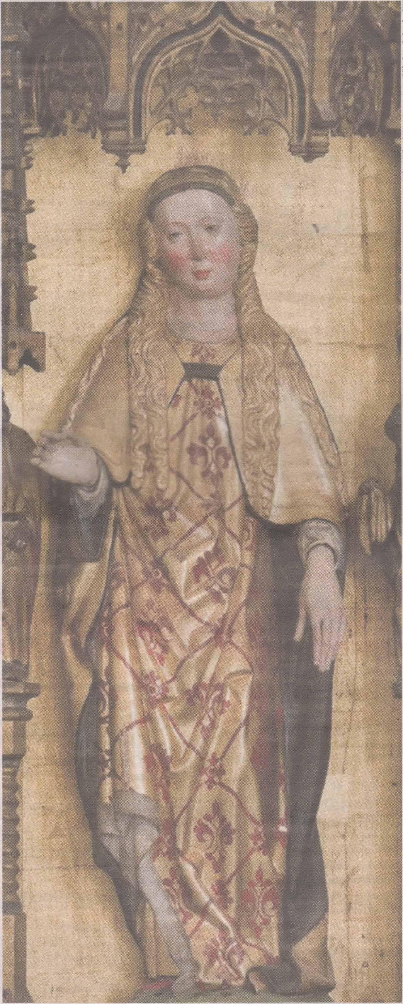 Екатерина Александрийская. Скульптура XV века. Главный алтарь церкви Нигулисте.