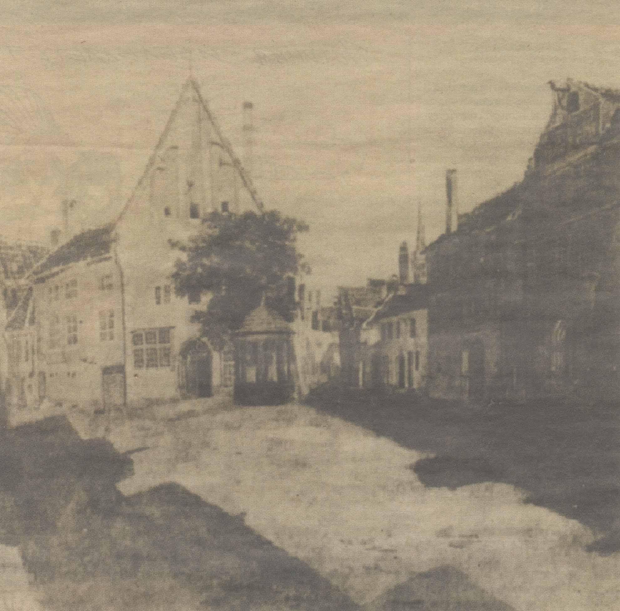 Единственное дошедшее до нас изображение исторического Колесного колодца: зарисовка Карла Буддеуса. 1828 год.