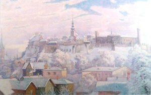"Август Янсен. ""Тоомпеа зимой"". Масло, 1942, EKM"