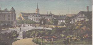Цветник на Мусумяги и вид с горки в сторону Пярнуского шоссе. Открытка начала XX века.