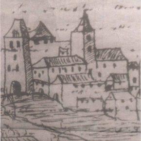 Вид Больших морских ворот из хроники Иоганна Реннера XVI века. Здание на первом плане — вероятно, Гертрудинская церковь.