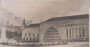 """Новое здание Балтийского вокзала и площадь перед ним. Иллюстрация из журнала """"Pilt ja Sõna"""" 1946 год."""