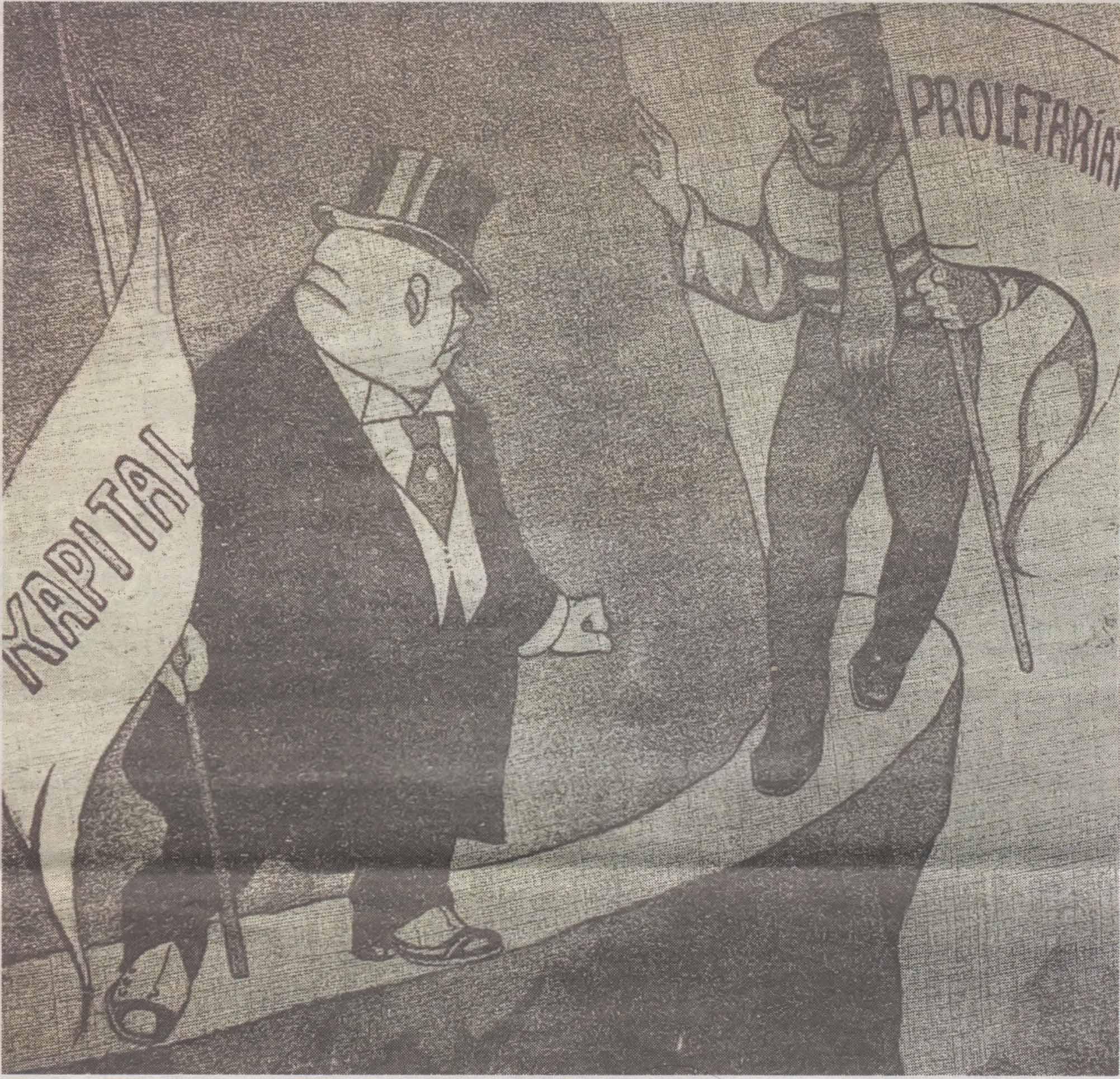 """«На узком пути: кому из двух суждено сорваться в пропасть?»: противостояние капиталистов и пролетариата глазами карикатуриста таллиннского юмористического издания """"Ме1е Май"""". 1917 год."""