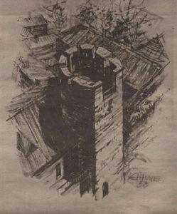 Проект реставрации Бременской башни с открытой боевой платформой, 1958 год.