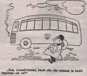 Подчеркнуто современный вид муниципальных автобусов мог озадачить приезжих из сельской местности. Карикатура издания «Esmaspäev».