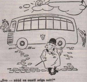 """Подчеркнуто современный вид муниципальных автобусов мог озадачить приезжих из сельской местности. Карикатура издания """"Esmaspäev""""."""