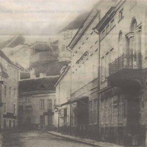Перспектива улицы Лай с жилыми домами на нечетной стороне улицы Нунне. Конец XIX века.