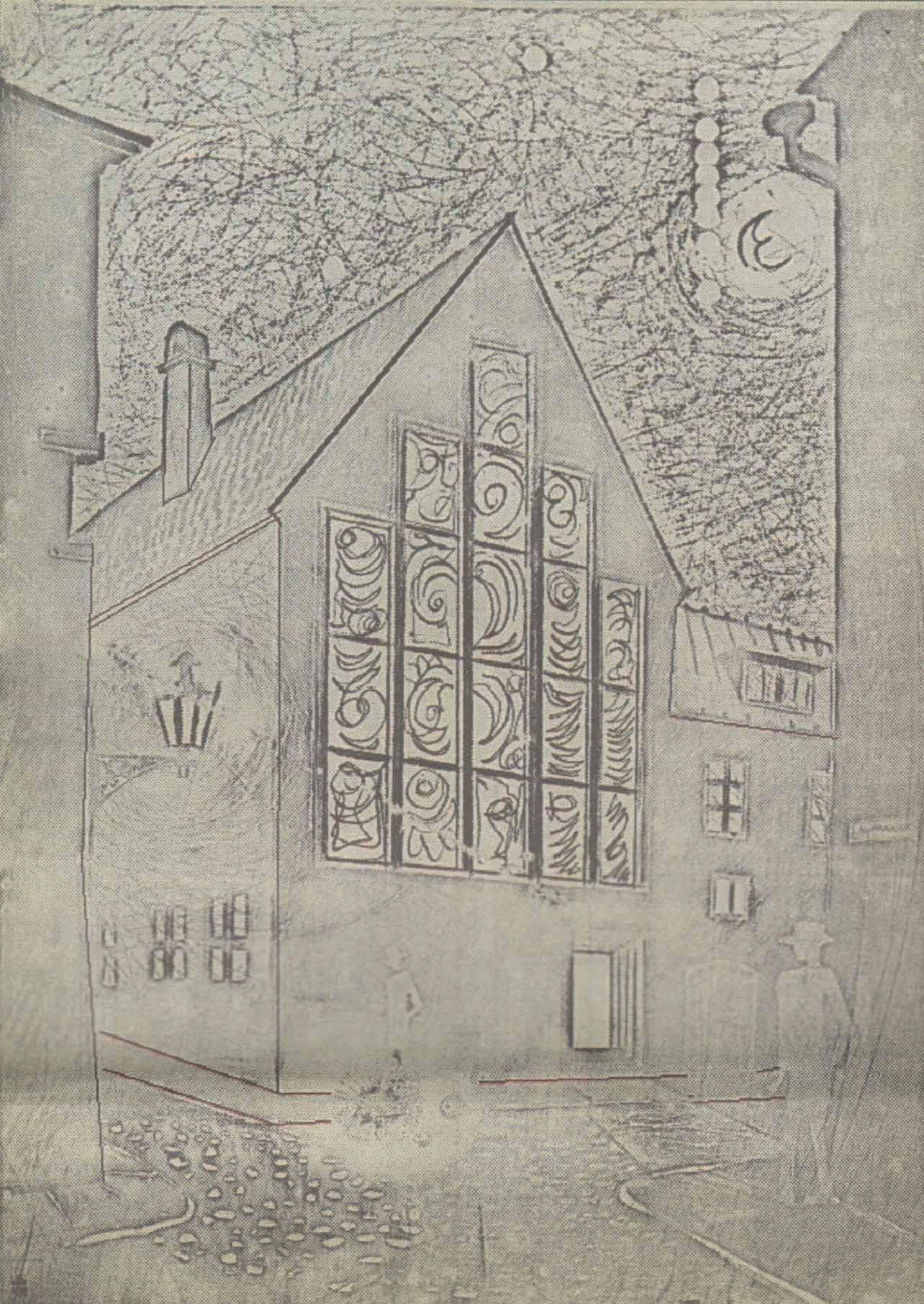 Дом на углу улиц Ратаскаеву и Люхике-Ялг должен бы обзавестись гигантским витражным окном и стать художественным кафе «Зиттов». Проект 1968 года.