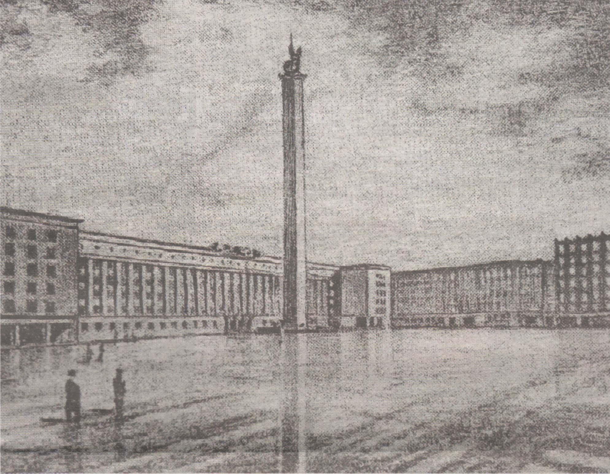 Ноеый облик площади Вабадузе с памятником победы в Освободительной войне на проекте А. Котли и Э. Кеса. 1937 год. Крайнее здание справа — нынешняя мэрия.