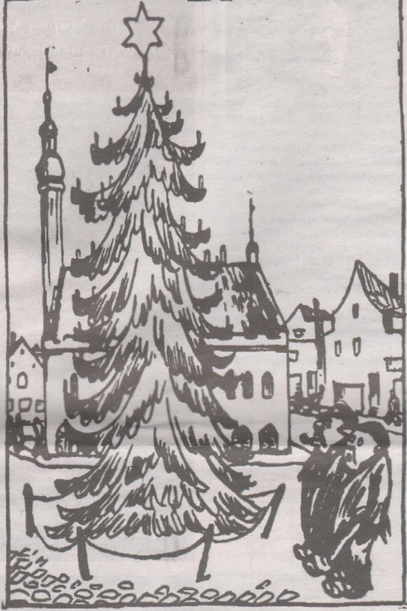"""Самая первая елка на Ратушной площади Таллинна глазами популярного в довоенной Эстонии карикатуриста Гори (Велло Агори). Первая полоса номера газеты """"Rahvaleht"""" за 18 декабря 1928 года."""