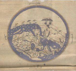 Позднесредневековая реконструкция утраченного оригинала карты, составленной аль-Идриси в 1154 году.