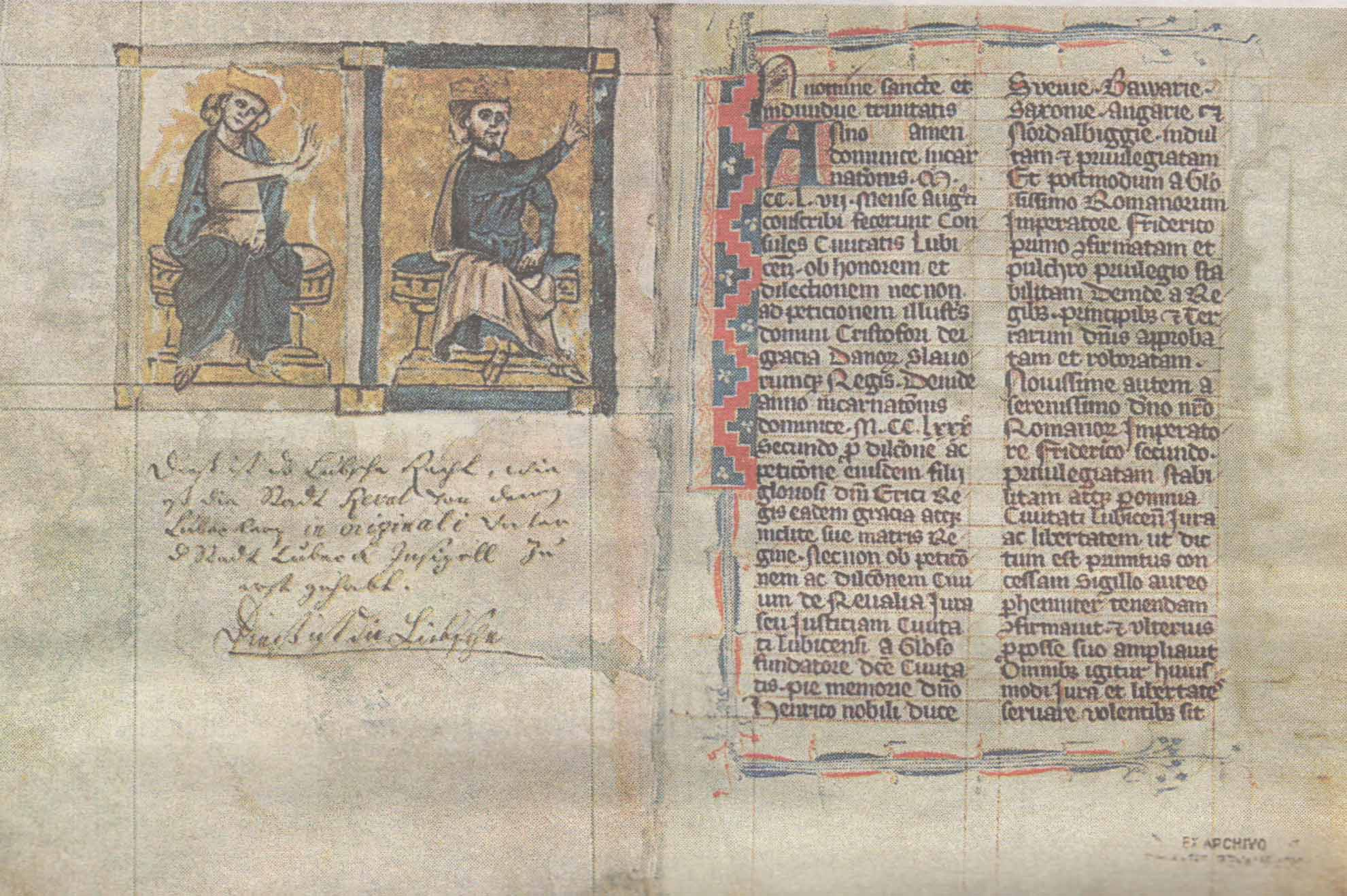 Первые страницы ревельского кодекса Любекского права, составленного в 1282 году — основы городского правосудия на протяжении шести веков.