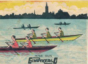 В оформлении обёрток конфет фабрики Гиновкера использовался и классический силуэт Таллина с моря.