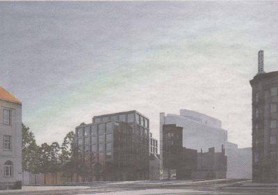 И его будущий облик — с существующим офисным центром, зданием Kawe Plaza, и проектируемым отелем.