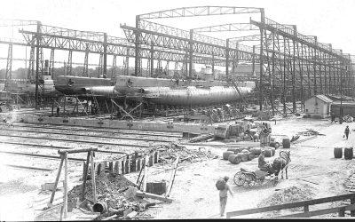 Подводные лодки на стапелях завода «Ноблесснер» более ста лет тому назад. Эстонский морской музей