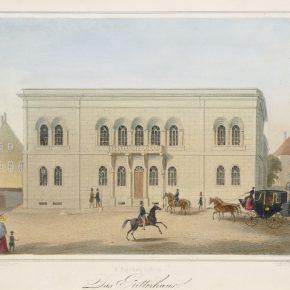 Дом Эстляндского рыцарства вскоре после своего возведения. Раскрашенная литография середины XIX века.