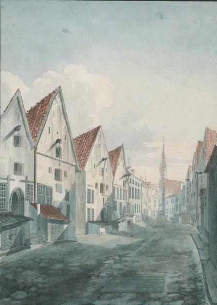 Акварель Йоханнеса Хау, изображающая ул. Виру по направлению к Ратушной площади в 1830-х годах.
