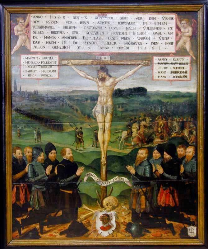 Портреты павших в сражении 11 сентября 1560 года горожан и старейшее изображение Таллинна на эпитафии Братства черноголовых.