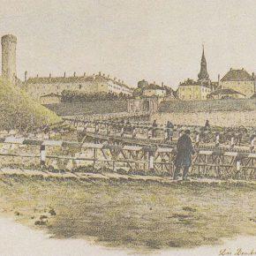 Домский, он же Длинный мост на рисунке Карла Буддеуса, середина XIX века.