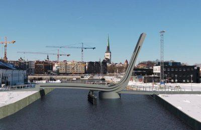 Визуализация моста над Адмиралтейским каналом в Пассажирском порту.