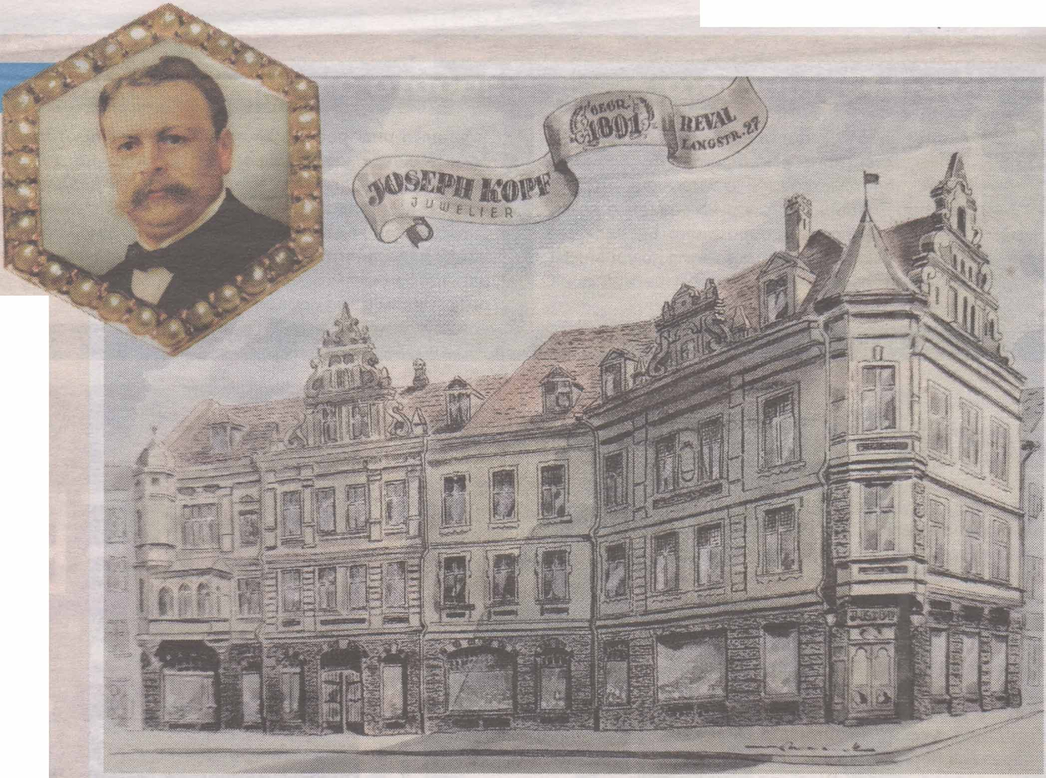 Дом Иосифа Копфа на углу Пикк и Хобузепеа и портрет его владельца на золотой брошке.