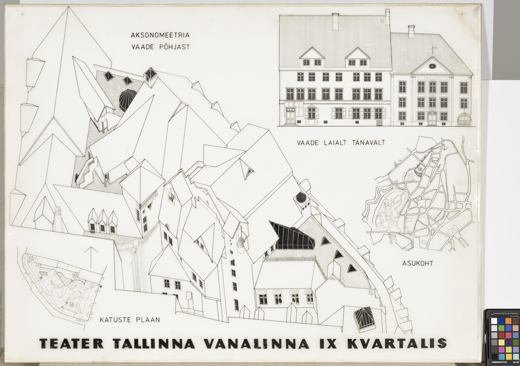 Таким представлялся вид сверху на новый корпус нынешнего Городского театра во дворах девятого квартала архитектору Калле Рыымусу в 1987 году.