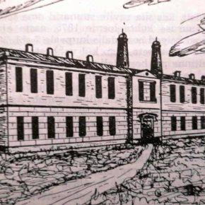 Главное здание больницы Общества общественного призрения с характерными вентиляционными трубами. Рисунок, выполненный по памяти в середине ХХ века.