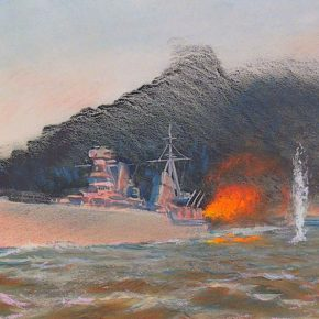 Начало прорыва в Кронштадт: крейсер «Киров» покидает горящий Таллинн. Рисунок Якова Ромаса, в 1941-43 годах художника эскадры Балтийского флота.
